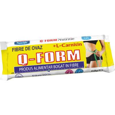 Q-Form Baton pentru slăbit cu fibre de ovăr și L-Carnitină, Rommac, 60 gr